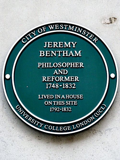 Jeremy bentham philosopher and reformer 1748 1832 lived in a house on this site