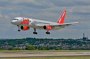 English: jet2.com Boeing 757 lands at Leeds Br...