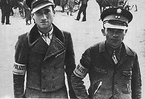 Jewish Ghetto Police - Jewish policemen in Węgrów in Poland