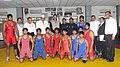 Jitendra Singh with the wrestler during his visit to Chhatrasal Stadium, in New Delhi. The Chairman of Chhatrasal Stadium, Shri Satpal Pahalwan, the Indian wrestlers, Shri Sushil Kumar and Shri Yogeshwar Dutt are also seen.jpg