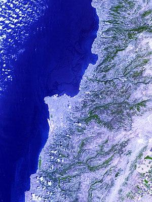 Jiyeh Power Station oil spill - Nasa image of spill, taken August 10, 2006. Oil slick in darker blue.