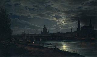 Vue de Dresde au clair de lune