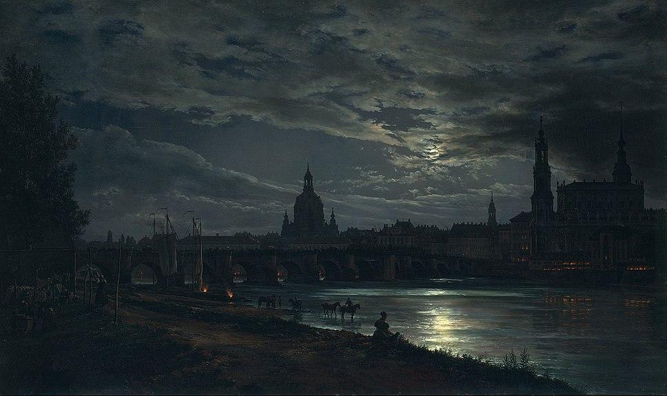 Johan Christian Dahl - View of Dresden by Moonlight - Google Art Project