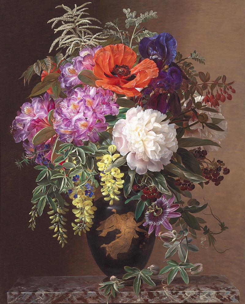 """Johan Laurentz Jensen - Rhododendron, valmue, pæon, iris, guldregn og passionsblomster i en """"græsk"""" vase dekoreret med Bertel Thorvaldsens """"Dagen"""" på en marmorkarm - 1841.png"""
