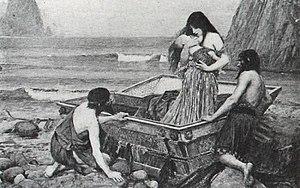 Η Δανάη και ο νεογέννητος Περσέας από τον John William Waterhouse (1892, Αγγλία).