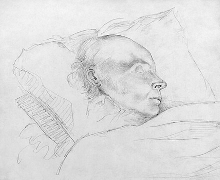 John Quincy Adams during his final hours of life after his collapse in the Capitol. Drawing in pencil by Arthur Joseph Stansbury, digitally restored. John Quincy Adams drawing2.jpg