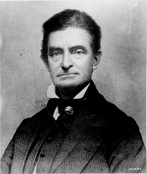 John Brown (1800–1859), abolitionist who advocated armed rebellion by slaves. He slaughtered pro-slavery settlers in Kansas and in 1859 was hanged by the state of Virginia for leading an unsuccessful slave insurrection at Harpers Ferry. John brown abo.jpg