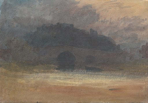 Joseph Mallord William Turner - Evening Landscape with Castle and Bridge in Yorkshire - Google Art Project