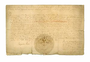 Józef Sylwester Sosnowski - The nomination for the office of the Grand Notary of Lithuania. Written by King Augustus III of Poland, stamped by Chancellor Józef Dułęba, July 12, 1754