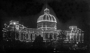 Jubilee Exhibition Building - The Jubilee Exhibition Building at night in 1920.