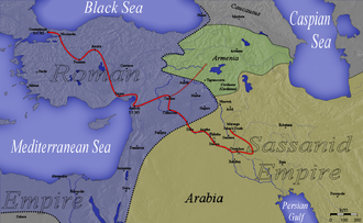 Julian's Persian War - Map of Julian's unsuccessful campaign in 363