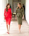 Juliana Awada and Melania Trump walk along the Colonnade of the White House, April 2017 (cropped).jpg