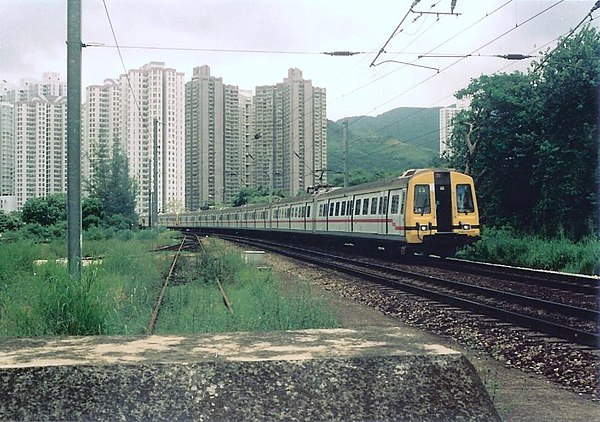 An unrefurbished Metro-Cammell train on the Kowloon-Canton Railway British Section in Hong Kong in 1993. The Kowloon-Canton Railway British Section is the oldest railway in Hong Kong. It started to operate in 1910 and connects to the Guangzhou-Shenzhen railway.