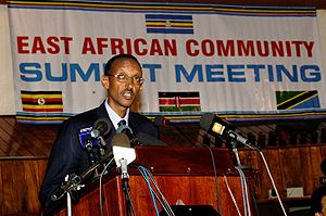 Paul Kagame, president of Rwanda, at the 8th E...