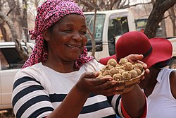 Kalanga woman selling Morojwa Natural fruit 3.jpg