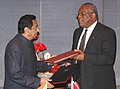 Kamal Nath and the Minister of Trade and Industry, Trinidad & Tobago Mr. Kenneth Valley after signing exchanging the Bilateral Investment Promotion & Protection Agreement between India and Trinidad & Tobago, in New Delhi.jpg