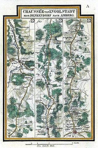 File Karte Chaussee Von Ingolstadt Resp Denkendorf Nach Amberg
