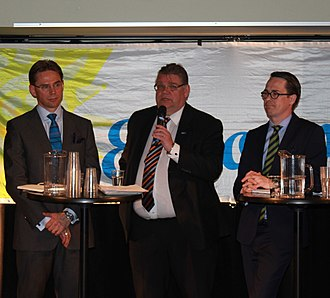 Timo Soini - Soini in a debate with NCP leader and Prime Minister Jyrki Katainen (left) and SPP leader Carl Haglund (right) in 2014.
