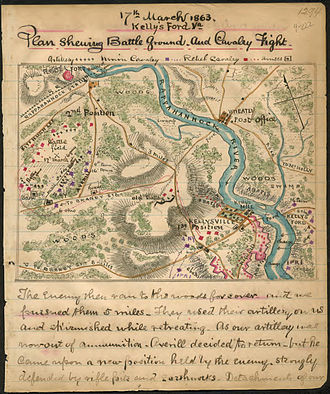 Battle of Kelly's Ford - Plan showing battleground and cavalry fight, March 17, 1863, Kelly's Ford, Virginia.