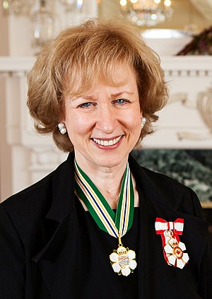 Order of British Columbia - Former prime minister Kim Campbell wearing the insignia of the Order of British Columbia on a neck ribbon