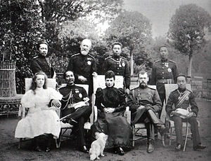 Chirapravati Voradej - King Chulalongkorn's visit to Europe in 1897, the king is with Tsar Nicholas II, Dowager Empress Maria Feodorovna, Crown Prince Maha Vajiravudh, Grand Duchess Olga Alexandrovna. Prince Chirapravati Voradej is back right.