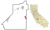 Kings County California Incorporated and Unincorporated areas Corcoran Highlighted.svg
