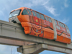 The KL Monorail in Kuala Lumpur, a colorful straddle-beam monorail