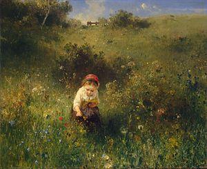 Ludwig Knaus - Girl in a Field (1857)