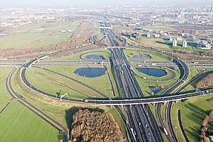 European route E35 in the Netherlands - Looking north over the Oudernrijn interchange where E 35 enters from the north and continues eastwards