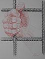 Korzhev Ivan. Nespravedlivost. Коржев И. Авторская серия Руки. Несправедливость, 2008, цветной карандаш, 66х50см.jpg