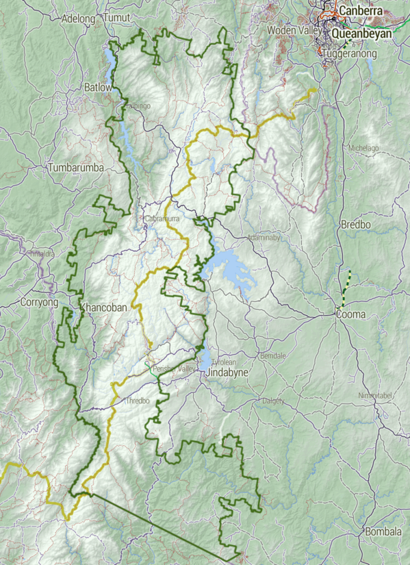 Map of the national park. The Australian Alps Walking Track is shown in yellow. Kosciuszko National Park map Stevage.png