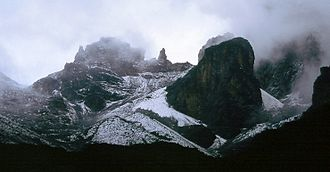 Gendarme (mountaineering) - Thompson's Flake on Mount Kenya (centre of image on skyline) is a gendarme.
