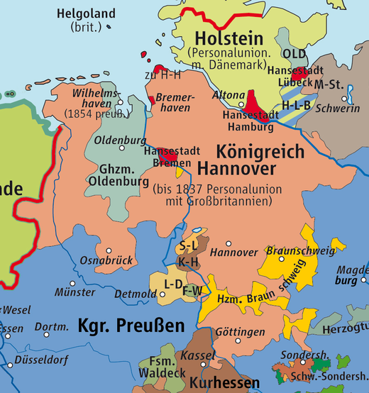 Map of the Kingdom of Hanover (until 1866), recreated in 1946 as the State of Hanover KrkHannover.png