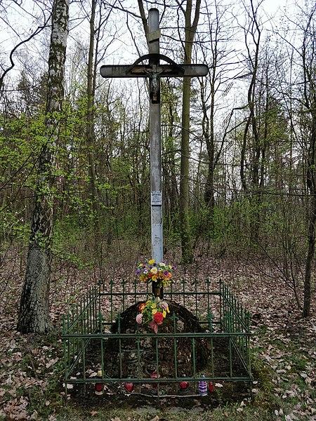 File:Krzyż maczki przed cmentarzem .jpg