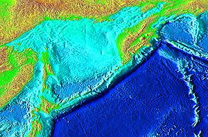 Kuril–Kamchatka Trench - Topographic image of the northwest Pacific including the Kuril-Kamchatka Trench.