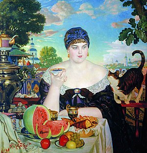 Samovar - The Merchant's Wife by Boris Kustodiev, showcasing Russian tea culture