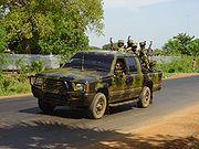 Tamil rebels in a pickup truck in Killinochchi in 2004