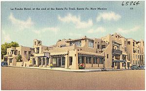 La Fonda on the Plaza - Vintage postcard featuring La Fonda