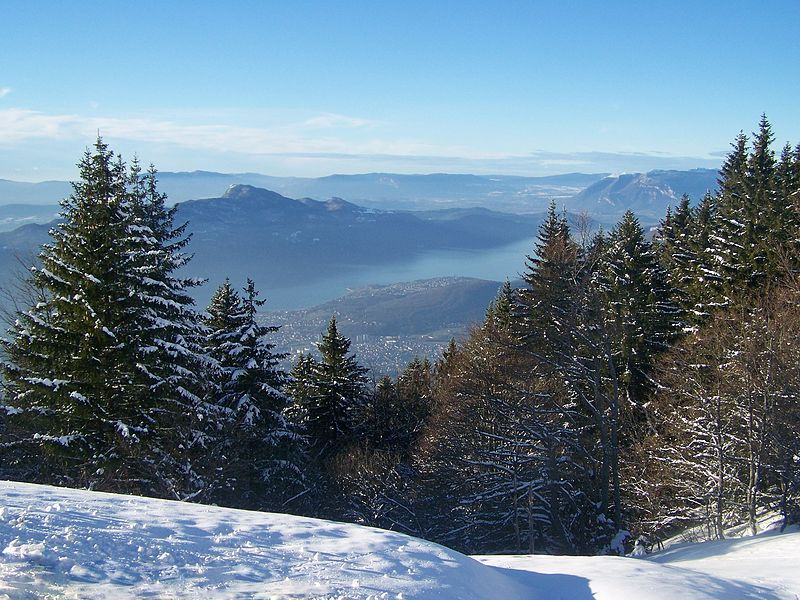 Sight, in winter, of lac du Bourget lake and part of city of Aix-les-Bains from the RD 913 road close to the top of mont Revard mount, in Savoie, France.