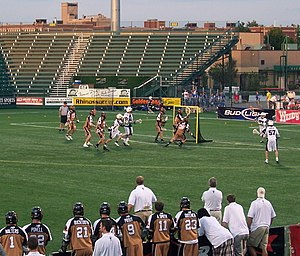 Dallas Rattlers - The Rochester Rattlers (gold) vs. the Long Island Lizards (white) at PAETEC Park in 2008.