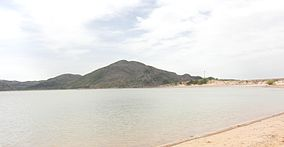 A photo of Lake Altus and granite peaks in Quartz Mountain Nature Park