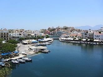 Agios Nikolaos, Crete - Image: Lake Voulismeni, Agios Nikolaos, Crete
