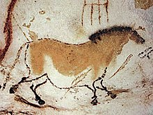 A cave painting of a wild horse, approximately 17,000 years old.
