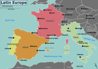 Map Of Europe France.Latin Europe Travel Guide At Wikivoyage