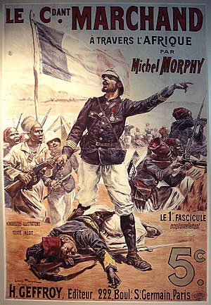 Scramble for Africa - Contemporary illustration of Major Marchand's trek across Africa in 1898