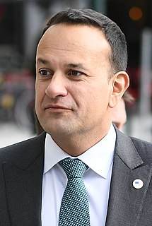 Leo Varadkar Irish politician; Taoiseach (Prime Minister) of Ireland, current Minister for Defence, and leader of the Fine Gael party