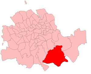 Lewisham by-election, 1903 - Lewisham in London County, showing boundaries used in 1903