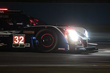 Ligier JS P217 LMP2 of 2018 12 Hours of Sebring at night.