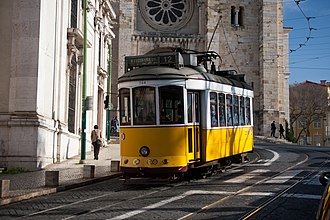 A Lisbon tram by Lisbon Cathedral and Santo Antonio Church. Lisbon tram next to Lisbon Cathedral.jpg