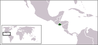 A map showing the location of El Salvador